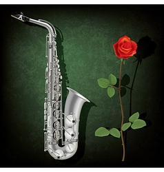 abstract grunge green background with saxophone vector image