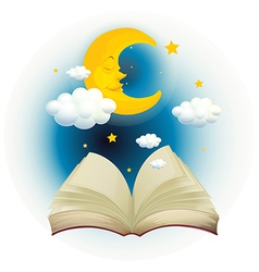 An empty open book with a sleeping moon vector image vector image