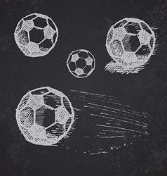 Football soccer ball sketch set on blackboard vector image