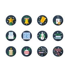 Round color flat Christmas icons vector image