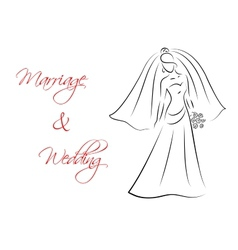 Marriage and wedding theme with bride silhouette vector image vector image