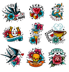 old school tattoo emblems set vector image