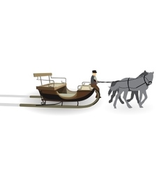 Old Wagon for the Horses with the driver Isolated vector image