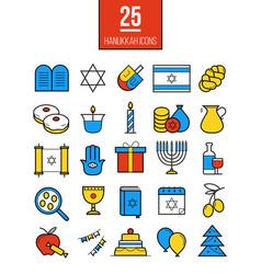 Bright hanukkah line icons set vector