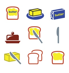 Butter or margarine icons set vector image