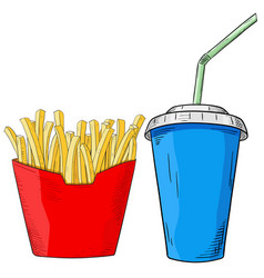 fast food set french fries and drink in paper cup vector image vector image