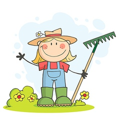 Gardening Female Child Waving A Greeting vector image