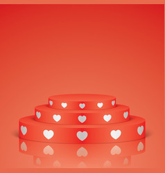 red romantic scene with white hearts vector image vector image