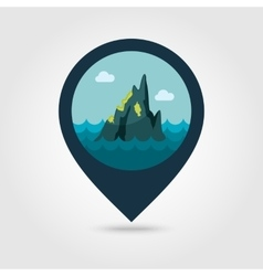 Rocks in the sea pin map icon Summer Vacation vector image