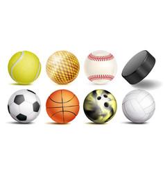 sport balls set of soccer basketball vector image
