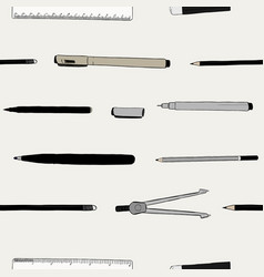 stationary set hand draw sketch seamless pattern vector image