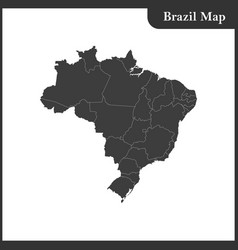 the detailed map of the brazil with regions vector image vector image