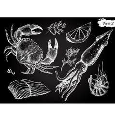 vintage hand drawn seafood set vector image