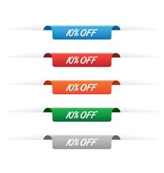10 percent off paper tag labels vector image