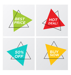 4 trendy vivid colors triangle flat sale stickers vector image