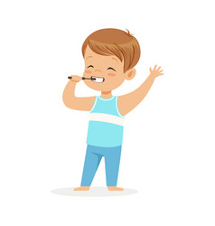 Adorable cartoon boy brushing his teeth kids vector