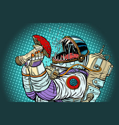 Astronaut monster eats fly agaric greed vector
