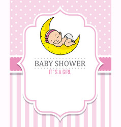 baby girl sleeping on the moon vector image