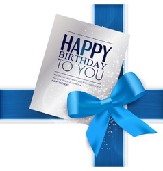Birthday card with blue ribbon and birthday text vector image