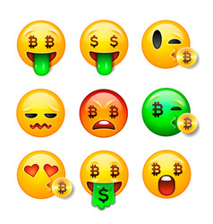 bitcoin smiley emoji set emoticon smiling face vector image