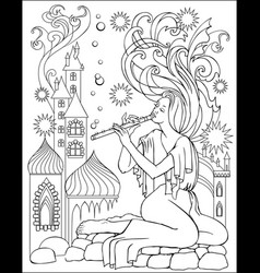 Black and white fairy playing flute vector