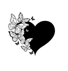 Black heart with contour butterflies vector