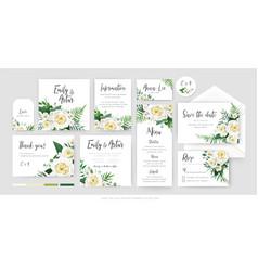 botanical floral wedding invite cards set vector image