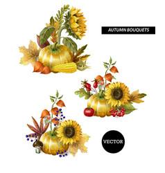 bouquets autumn leaves fruits vector image