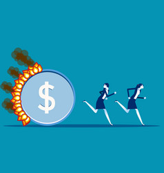 Burning money is urgent the coin follow vector