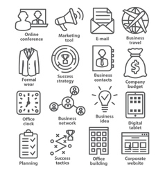 Business management icons in line style Pack 12 vector image