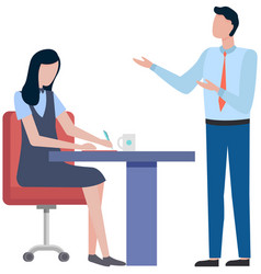 business people man and woman talking to each vector image