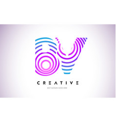 bv lines warp logo design letter icon made vector image