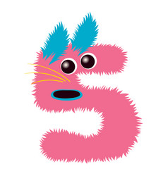 cartoon cute pink and blue monster number five vector image