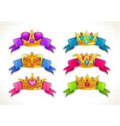 cartoon golden crowns on colorful ribbons vector image