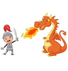 Cartoon knight with fierce dragon vector