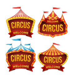 circus sign set night carnival sign vector image