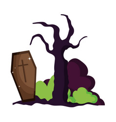 coffin dry tree bushes trick or treat happy vector image