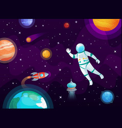 cosmonaut in space astronaut spacecraft rocket in vector image