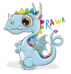 Cute cartoon dragon on a white background vector