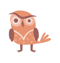 Cute funny cartoon brown owlet bird character vector
