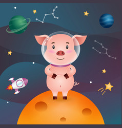 Cute pig in space galaxy vector