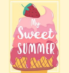 cute sweet pink strawberry melted ice cream vector image