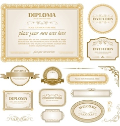 Diploma template with additional design elements vector