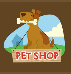 Dog sign for petshop mascot vector