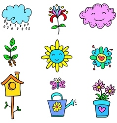 Doodle of spring item colorful vector
