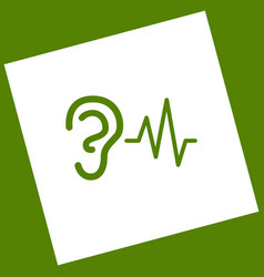 Ear hearing sound sign white icon vector