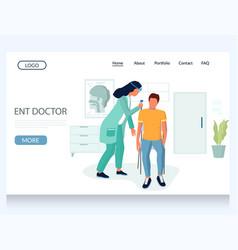 Ent doctor website landing page design vector