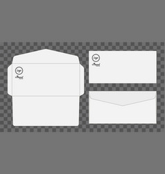 envelope die cut mock up template vector image