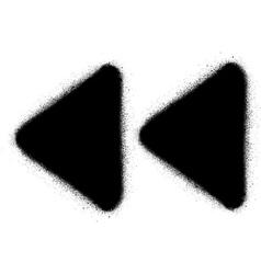 fast backward media graffiti spray icon in black vector image