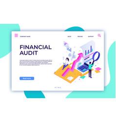 Financial audit landing page tax management vector